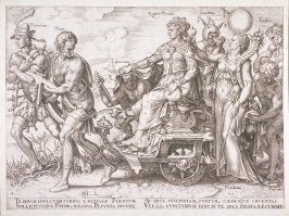 Set of 6 engravings: Allegorical subjects: 4. Periculum, Pauer, Latrocinium, Regina Pecunia, Stulticia, Inudia, Pandemia, Furtum