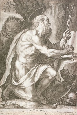 St. Jerome praying next to a tree