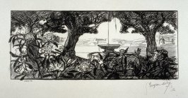 [Fountain seen through trees] from the portfolio Les Cartons d'estampes gravées sur bois, oeuvrage corporative (Portfolio of wood engravings after works of various French artists)