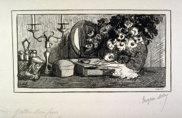 [Still Life with Vase of Flowers] from the portfolio Les Cartons d'estampes gravées sur bois, oeuvrage corporative (Portfolio of wood engravings after works of various French artists)