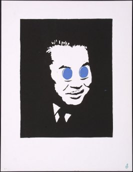 Untitled [man with blue circles covering eyes]