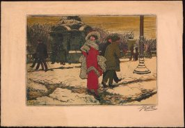 Untitled (Winter Street with Woman in Red)