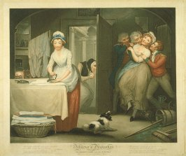 Plate 1: The Modest Girl and the Wanton Fellow Servants in a Gentleman's House, from the series 'Diligence and Dissipation'