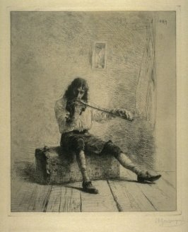 Violin player seated on trunk