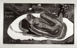 Manao Tupapau (Elle pense au revenant; The Vigil of the Soul of the Dead) from 10 Gravures sur Bois d'aprés Les Bois Originaux par Pola Gauguin; Set of ten woodcuts, printed by Pola Gauguin