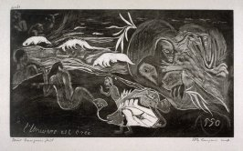 L'Univers est creé (The Creation) from 10 Gravures sur Bois d'aprés Les Bois Originaux par Pola Gauguin; Set of ten woodcuts, printed by Pola Gauguin