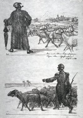 2 Drawings on stone - one plate- Soldier and Sheep - Man with Sheep