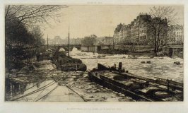 Le petit bras de la Seine, le 3 janvier 1880 (The small branch of the Seine), from a series of views of Paris