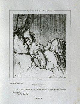 """Ma chère, les hommes, c'est farce! Toujours la meme chanson: une femme à soi seul. Toqués! toques!""; no. 11 from the series ""Les Partageuses"" in the book Oeuvres nouvelles ([Paris: Librairie Nouvelle, ca. 1840], [vol. 1 (indicated by * at foot of spine)]"