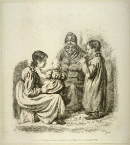Woman with baby on her knee, grandmother knitting and second child playing flute