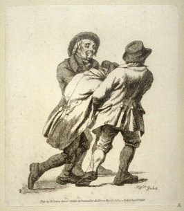 Same scene, but walking in the opposite direction (Enebriated man between two companions, who help him home)