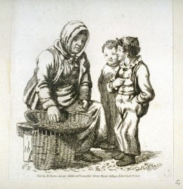 Woman selling nuts to two boys