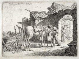 [Country scene with farmer feeding his horse]