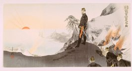 An Officer Worships the Rising Sun on a Hill by an Encampment at Port Arthur