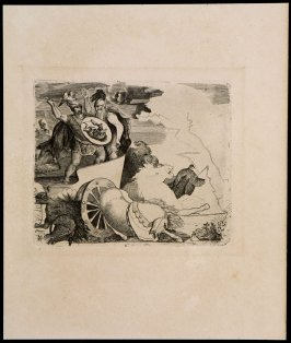 Untitled (Two horses and man with spear)