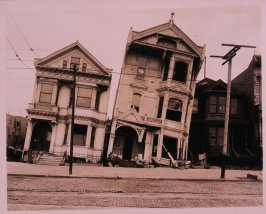 Untitled (Tilted wooden row houses after the earthquake)