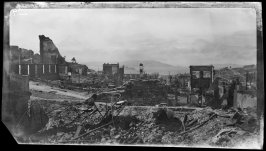 Untitled (Panoramic view of the post earthquake and fire ruins with the bay and Alcatraz in the background)