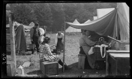Untitled (Domestic Scene in Post Earthquake and Fire Days. A Family's Activities in an Emergency Camp)