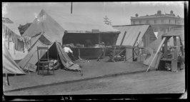 Untitled (Temporary tents and shacks set up in the sidewalk in post fire and earthquake days)