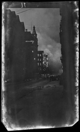 Untitled (Deteriorating negative not scanned. Street scene of fire and smoke)
