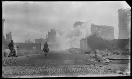 Untitled (Two horsemen ride towards demolition at the north side of Market Street, near the ruins of the Emporium)