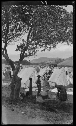Untitled (Domestic laundry scene of a family in the Presidio emergency camp in post fire and earthquake days)