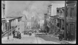 Untitled (View of fire down Sacramento Street)