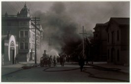 Untitled (Firemen fighting fire, Franklin Street at McAllister)