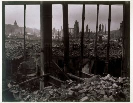 Untitled (Earthquake and Fire Ruins Seen through the Skeleton of a Building)