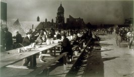 Untitled (Hot meal kitchen on outer Market Street, silhouette of City Hall in background)