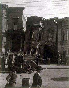 Untitled (Post-earthquake scene of row houses)