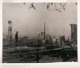 On the Ruins (April 1906) (Sacramento and Powell Streets)