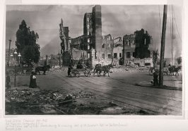 Untitled (View east of Sutter Street showing the remaining shell of St. Dunstan's Hotel on Van Ness Avenue)
