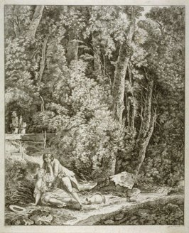 Landscape; young woman and man at left