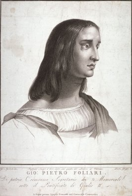 Portrait of Giovanni Pietro Foliari, after the fresco by Raphael in the Stanza de Eliodoro in the Vatican Palace