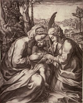 The Mystic Marriage of St. Catherine, after a painting in the Museo Nazionale di Capodimonte, Naples
