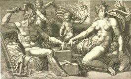 Venus and Vulcan at the Forge, after Perino del Vaga