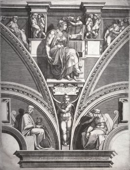 The Eritrean Sibyl, title page from a series of six prints after Michelangelo's Sistine Chapel ceiling