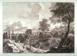 Plate 9 from the series Racolta di 12 paesi...dal Marco Ricci (Collection of Twelve Landscapes...by Marco Ricci)