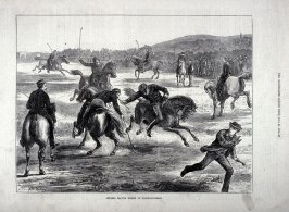 Officers playing Hockey on Wollwich - Common. From The Illustrated London News (20 July 1872)
