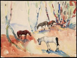 Untitled (Four Horses) (Verso: Women at clothesline)