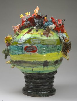 Untitled (erupting sphere with devils and other monsters)
