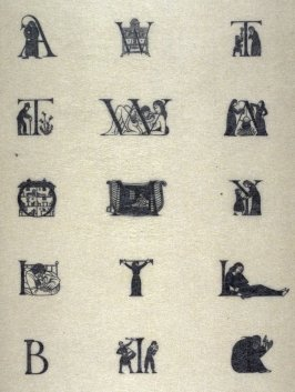 pl.59: D.204: Initial A with Woman and Child; D.202: Initial W with Mirror and Chest of Drawers; D. 203: Initial T with Woman and Child; D. 205: Initial T with Man and Thistles; D. 206: Initial W with Woman and Child; D. 211: Initial A with Princess and G