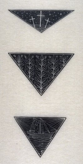 Calvary; D. 38: Triangular device: Five Stalks of Leaves; D. 40: Triangular device: Ship