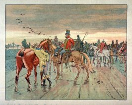 (Soldiers on horses on a road; one man dismounted to left)