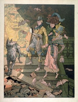 (Two men and a woman on stairway over run by mice and bats)
