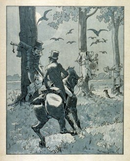 (Three men tied to trees and man on horse)