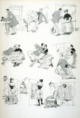 [cartoon about a man, a woman and a screen]