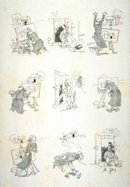 "[cartoon about an artist attempting to work ""en plein-air""], from Le Chat Noir"