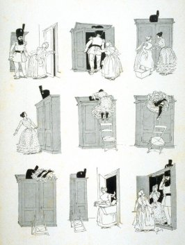 [cartoon about a man and woman hiding in a closet], from Le Chat Noir